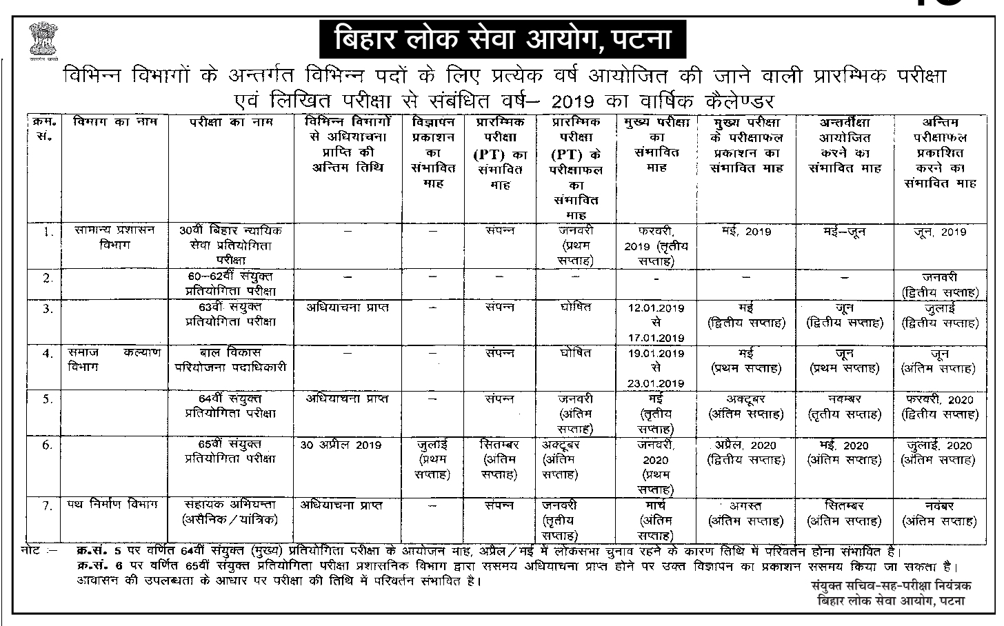 Bpsc Exam Calendar 2019  Vision with regard to Bihar Calendar 2020