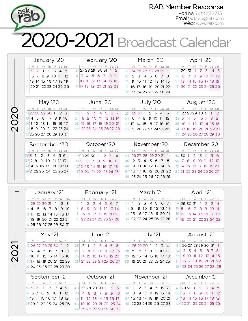 Broadcast Calendars | Rab in Broadcast Calendar 2021