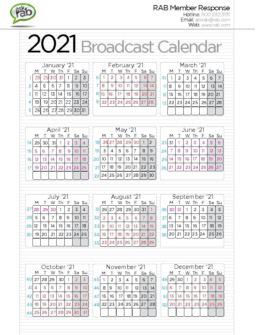 Broadcast Calendars | Rab in Q4 Calendar 2020