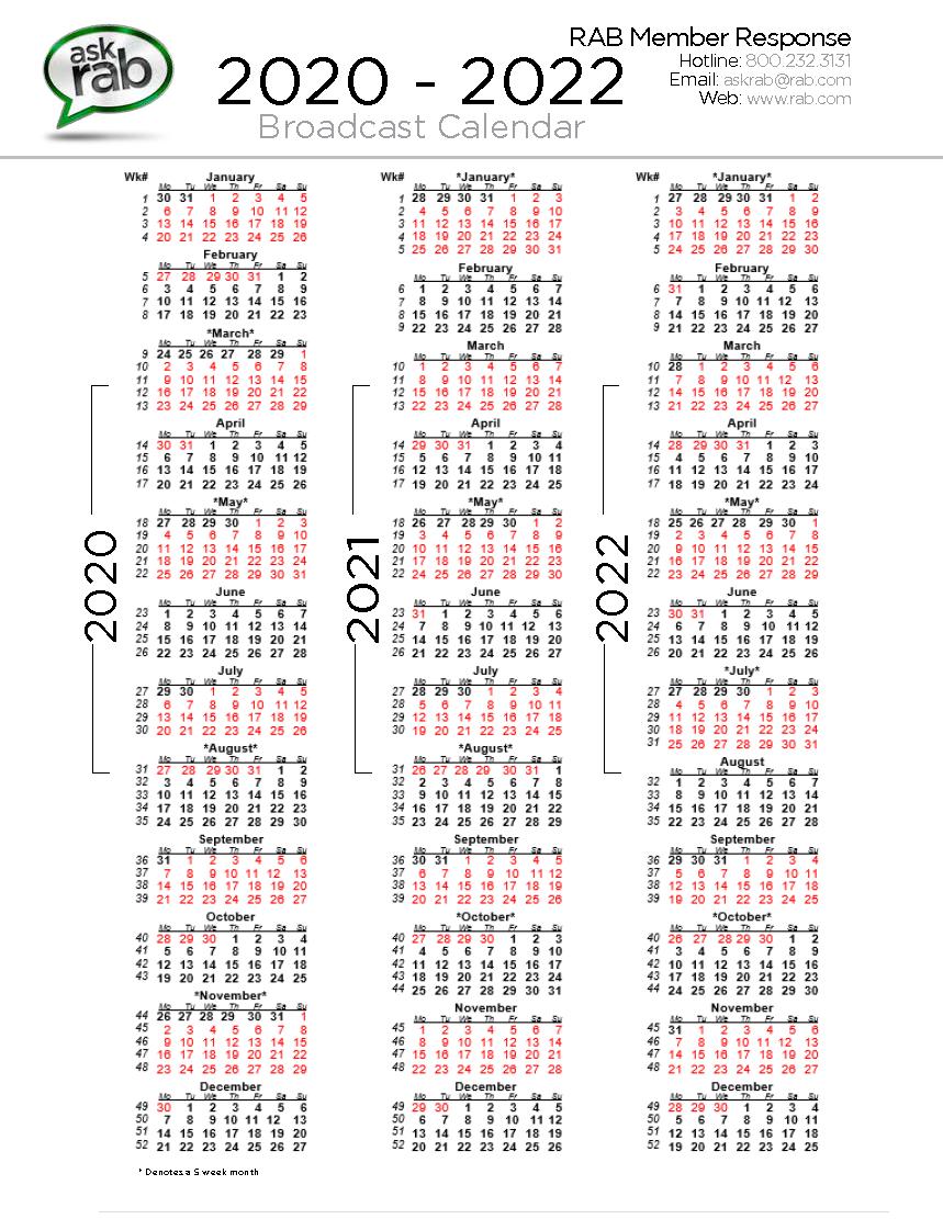 Broadcast Calendars | Rab in Rab Broadcast Calendar