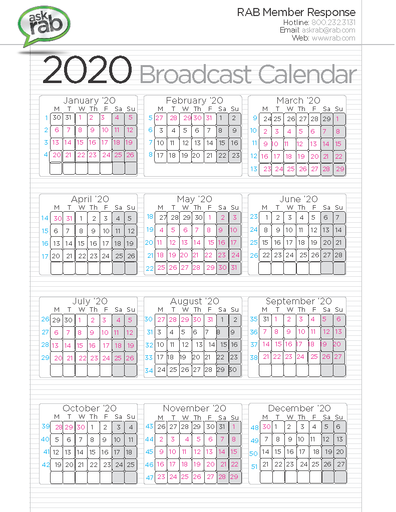Broadcast Calendars | Rab inside 1St 3Rd And 5Th Weekend Calendar 2020
