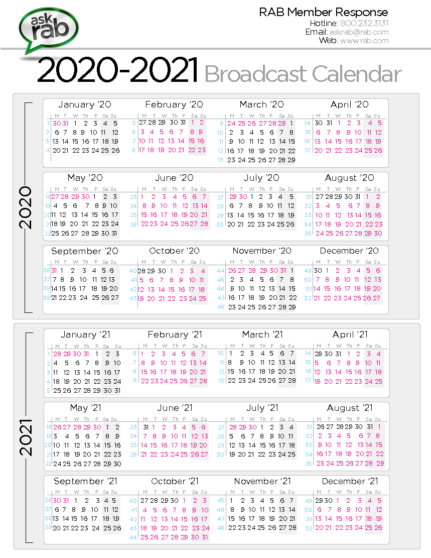 Broadcast Calendars | Rab regarding 1St 3Rd And 5Th Weekend Calendar 2020