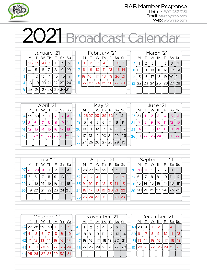 Broadcast Calendars | Rab within Broadcast Calendar 2021