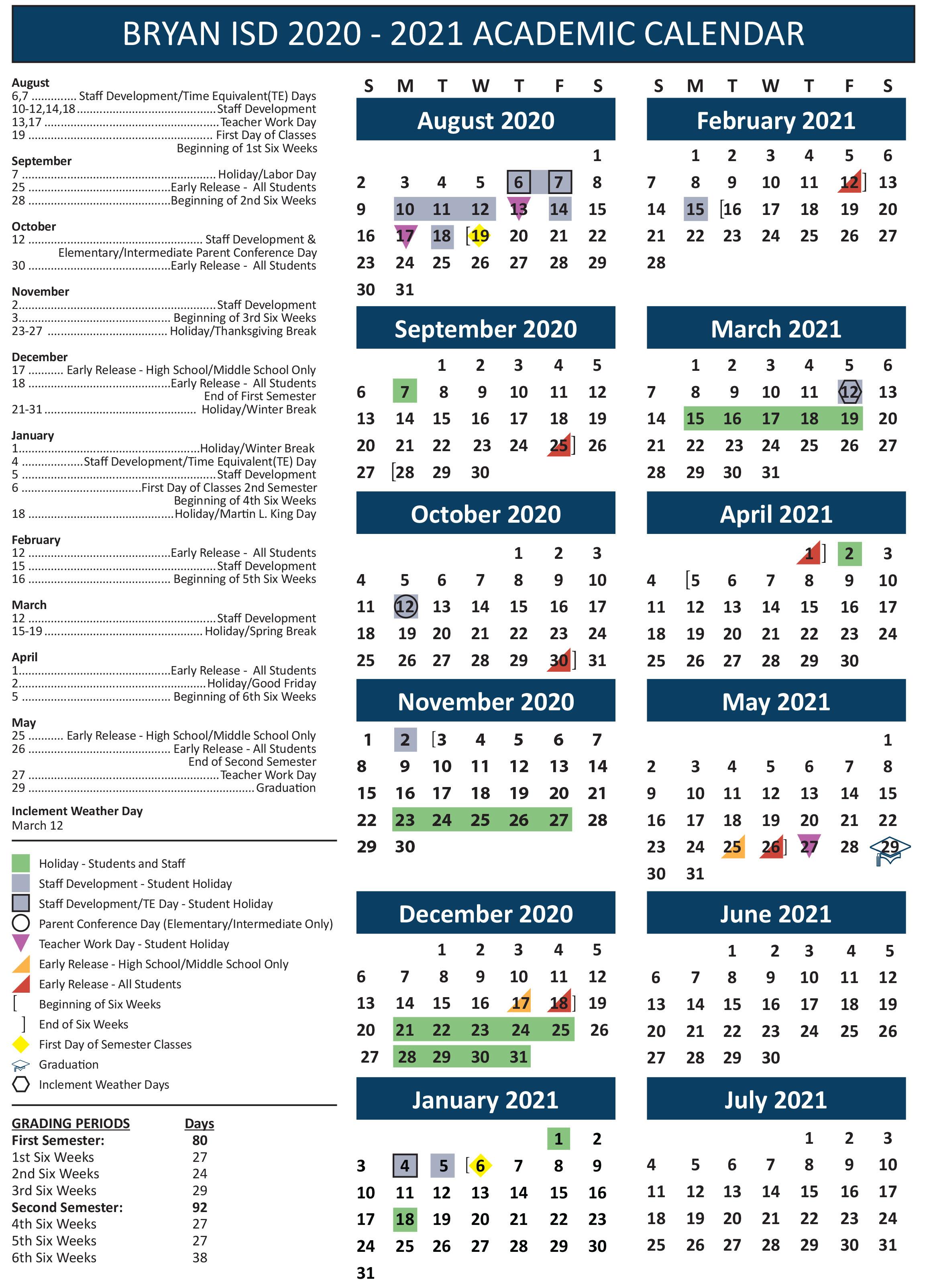 Bryan School Board Adopts Calendar For 20202021 School Year pertaining to Broadcast Calendar 2021