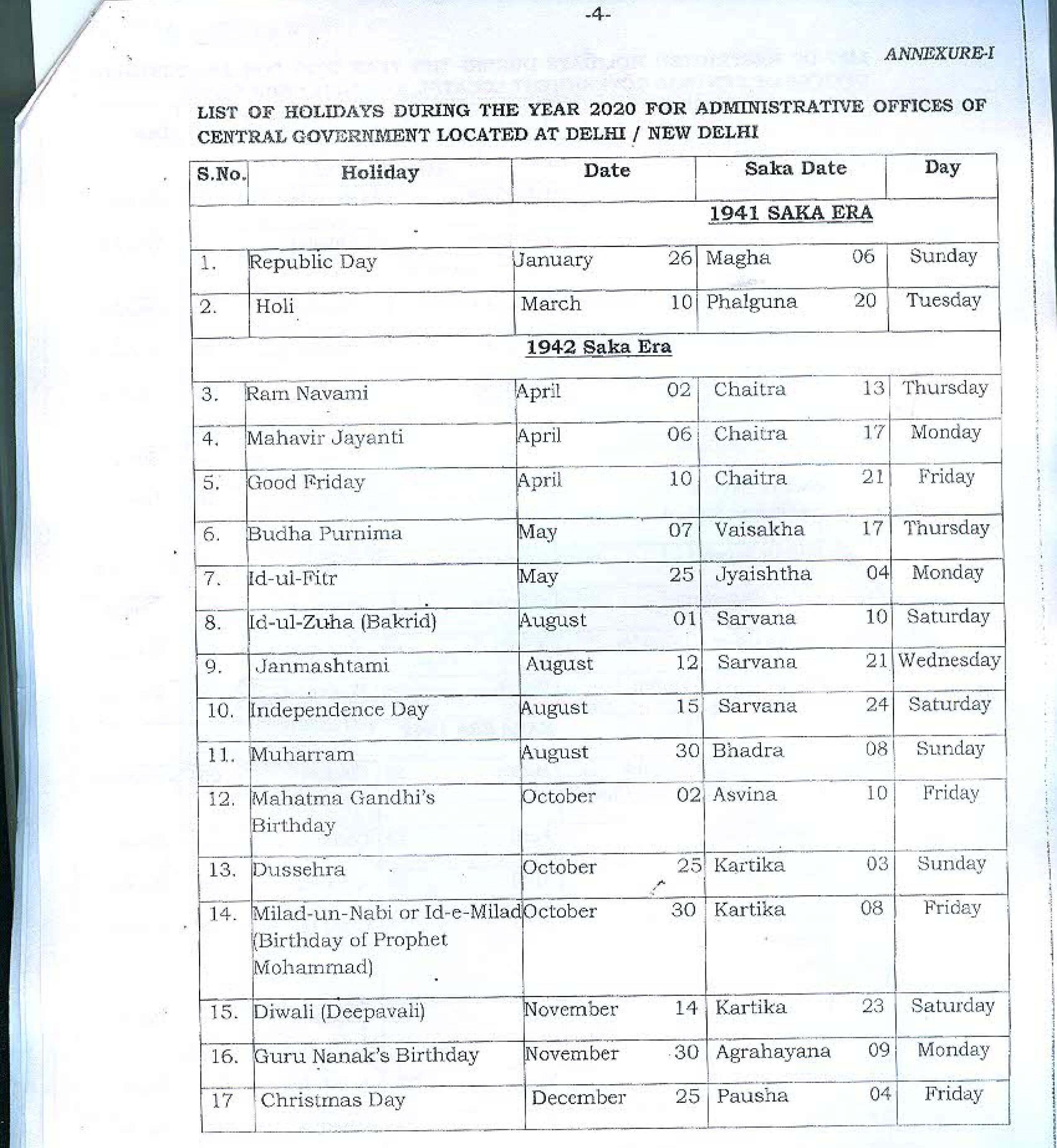 Bsnl Holidays List 2020   Gazetted And Restricted Holidays regarding Bihar Govt Calendar 2020