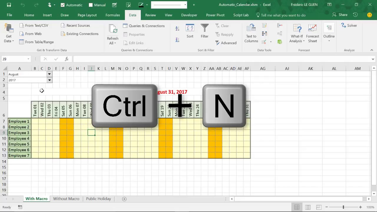 Build An Automatic Calendar With Macro In Excel within Excel Vba Calendar