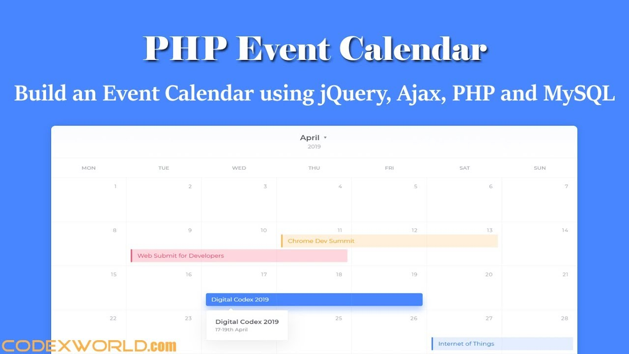Build An Event Calendar Using Jquery, Ajax, Php And Mysql pertaining to Php Calendar Event Scheduler Code