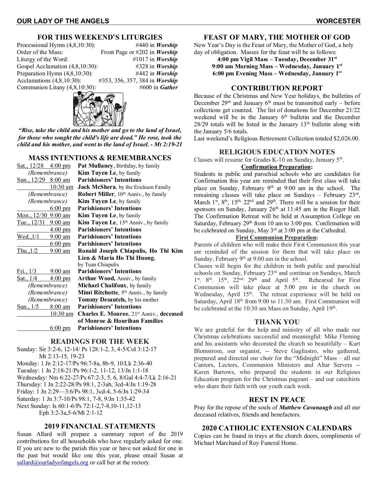 Bulletin in Catholic Extension Calendar
