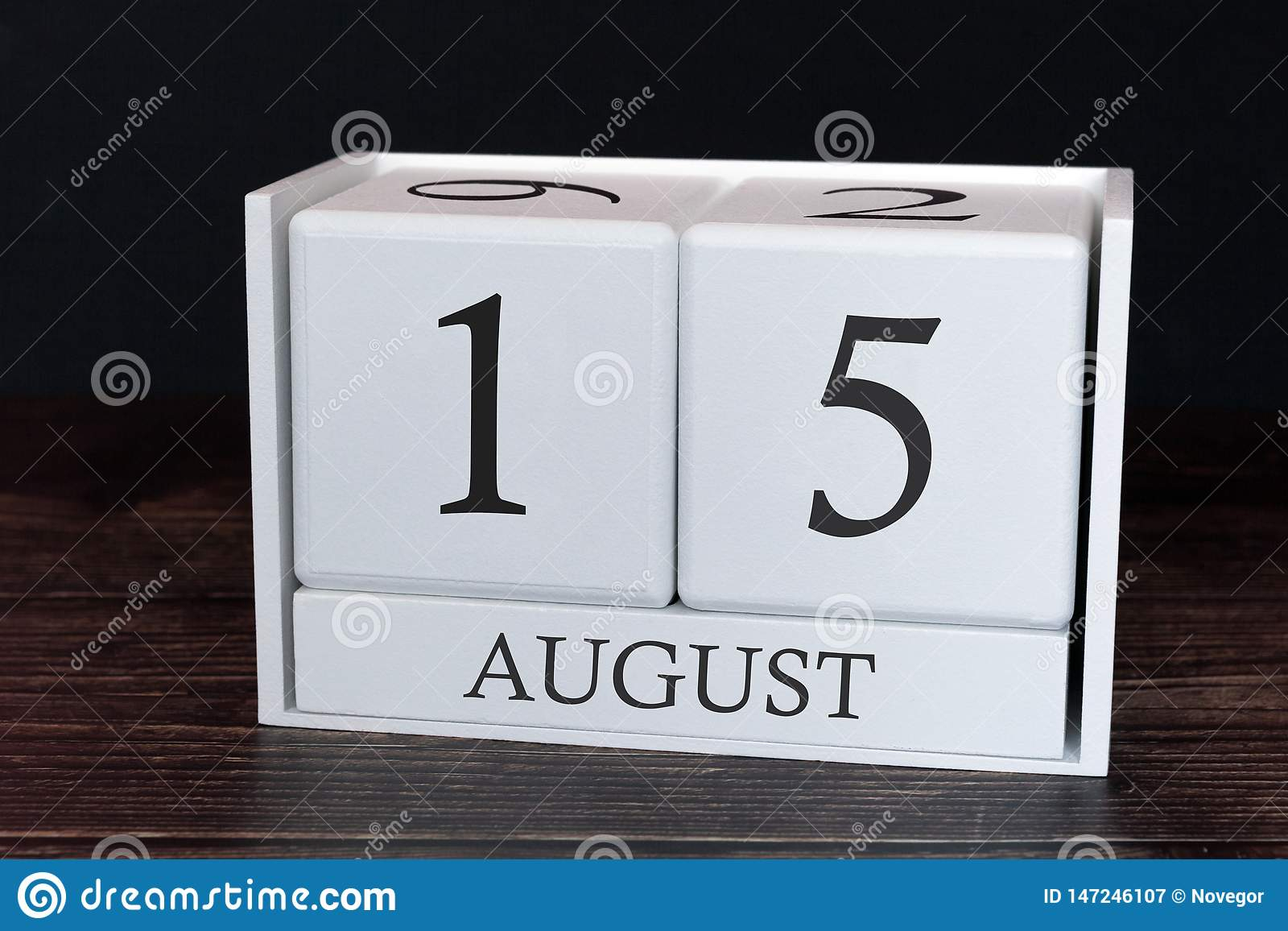 Business Calendar For August, 15Th Day Of The Month. Planner for 5 Day Monthly Calendar