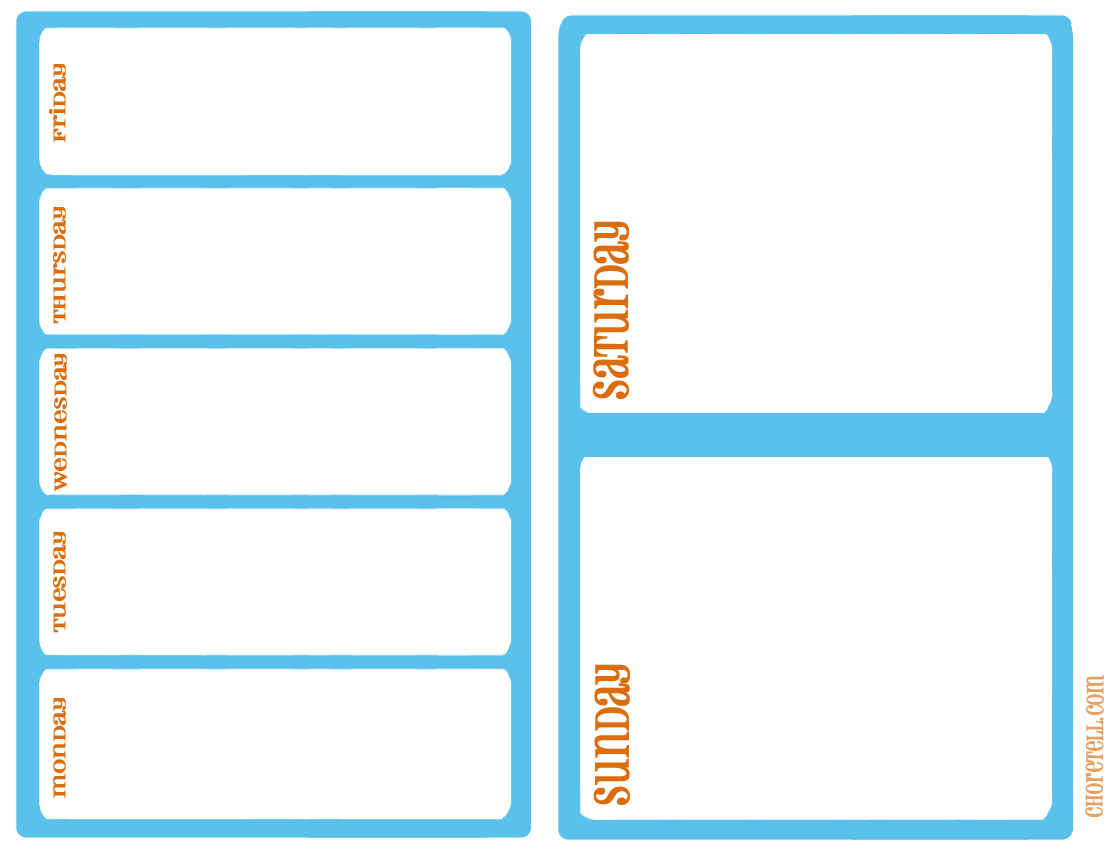 Busy Weekend Planner  Free Printable Downloads From Choretell intended for Sunday Through Saturday Schedule Template