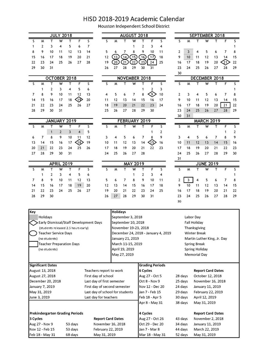 "Cagees Chrysalisms Twitter પર: ""the Hisd 201819 Academic intended for Hisd Calendar 2018-19"