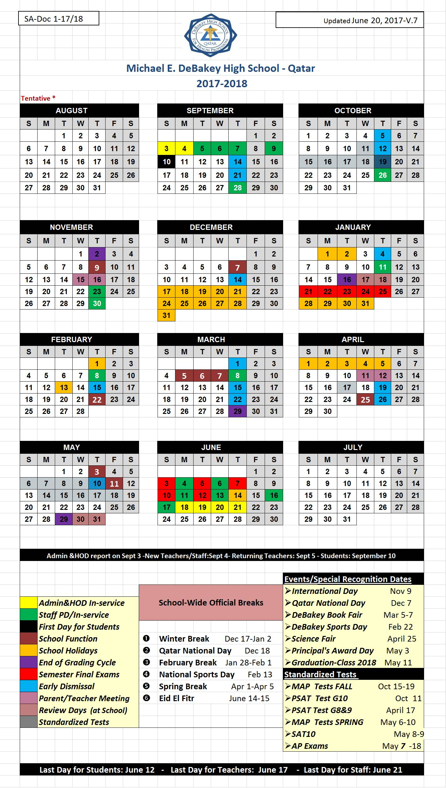Cal | Michael E. Debakey High School  Qatar throughout Debakey High School Calendar