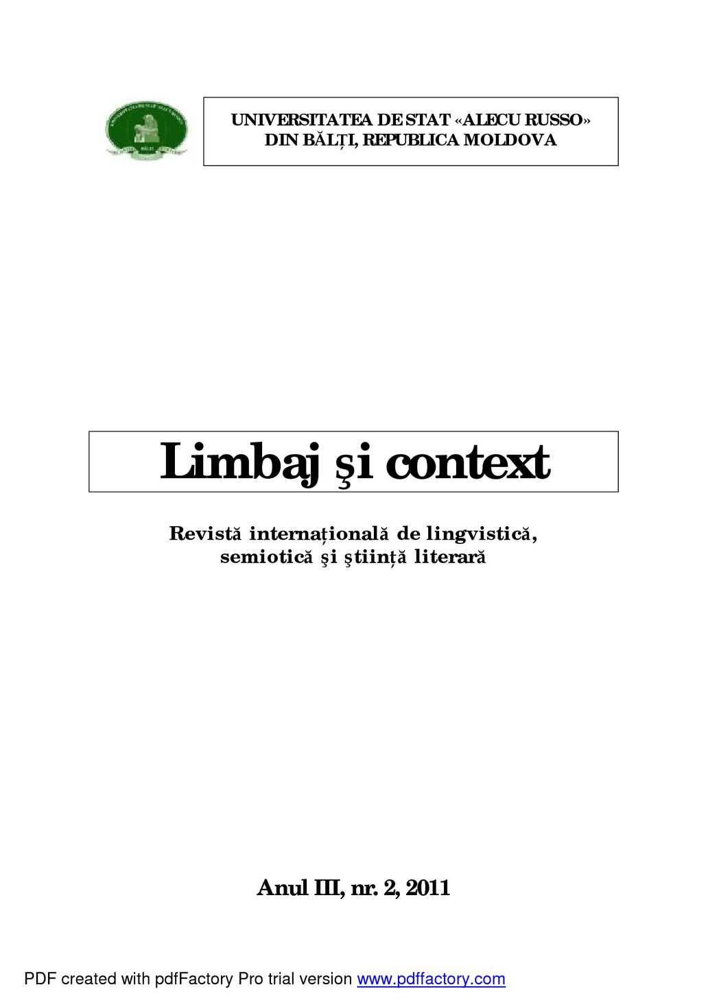 Calaméo  Speech And Context Journal, Vol 2(Iv)2011 in Calendar Lunar De Frumusete
