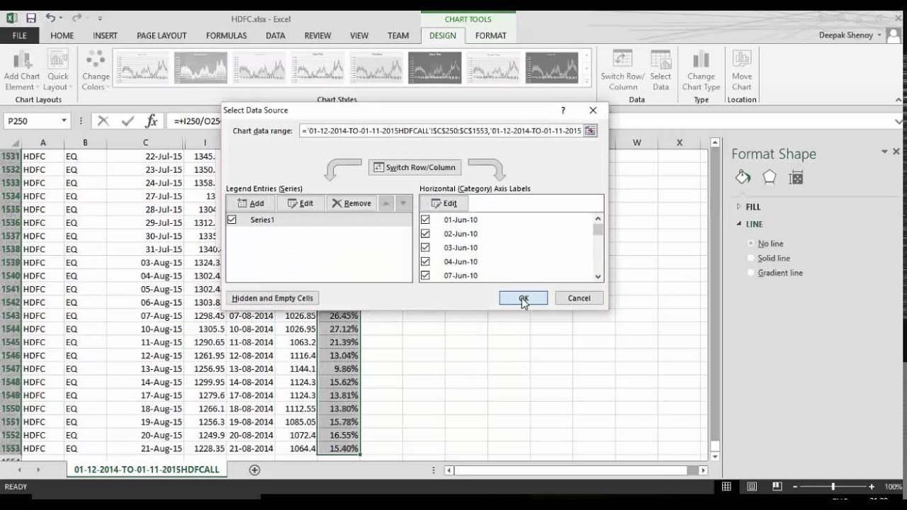 Calculating Rolling Returns With Excel in Calendar Year Vs Rolling Year