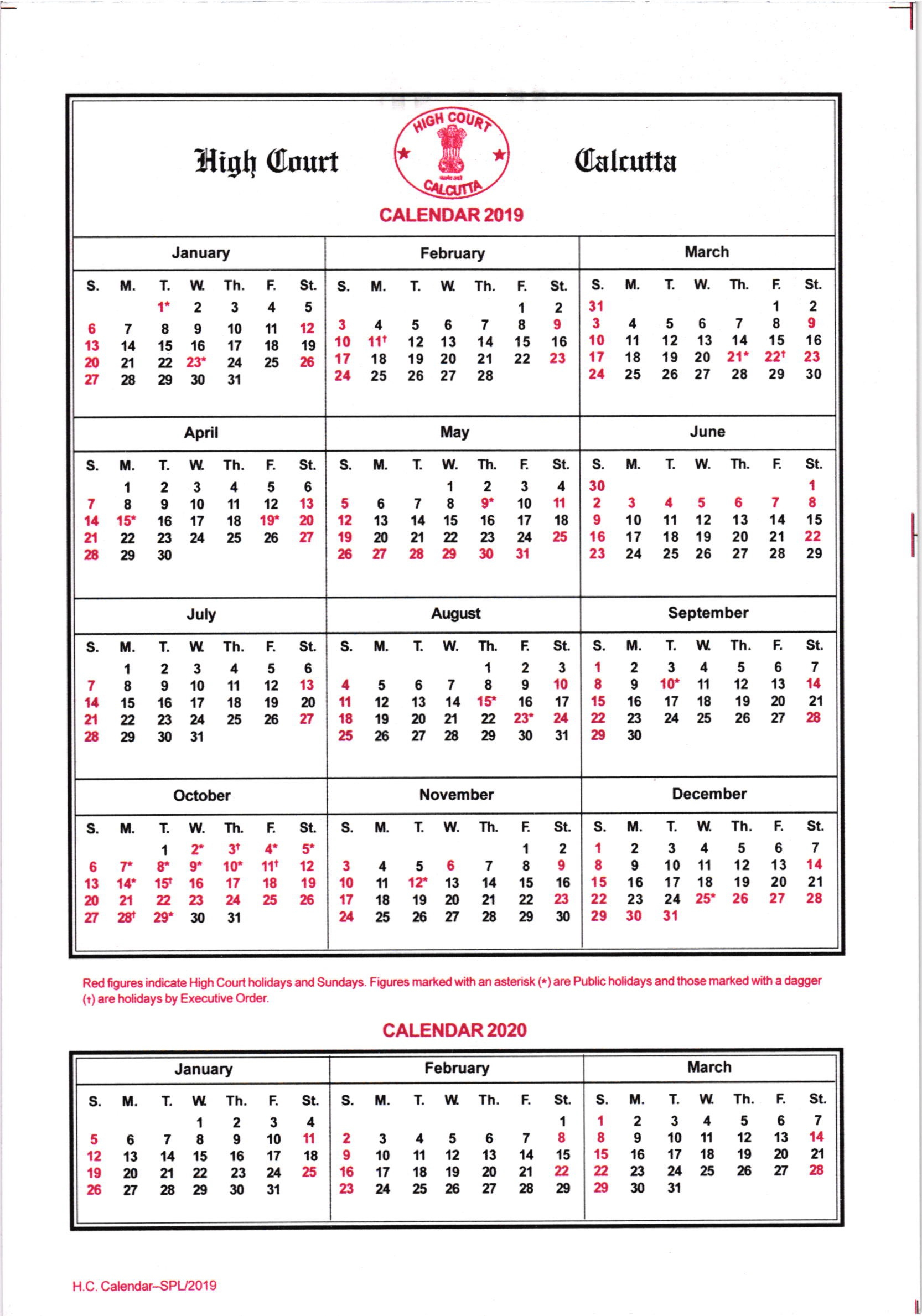 Calcutta High Court Calendar 2019 pertaining to Kerala High Court Calendar