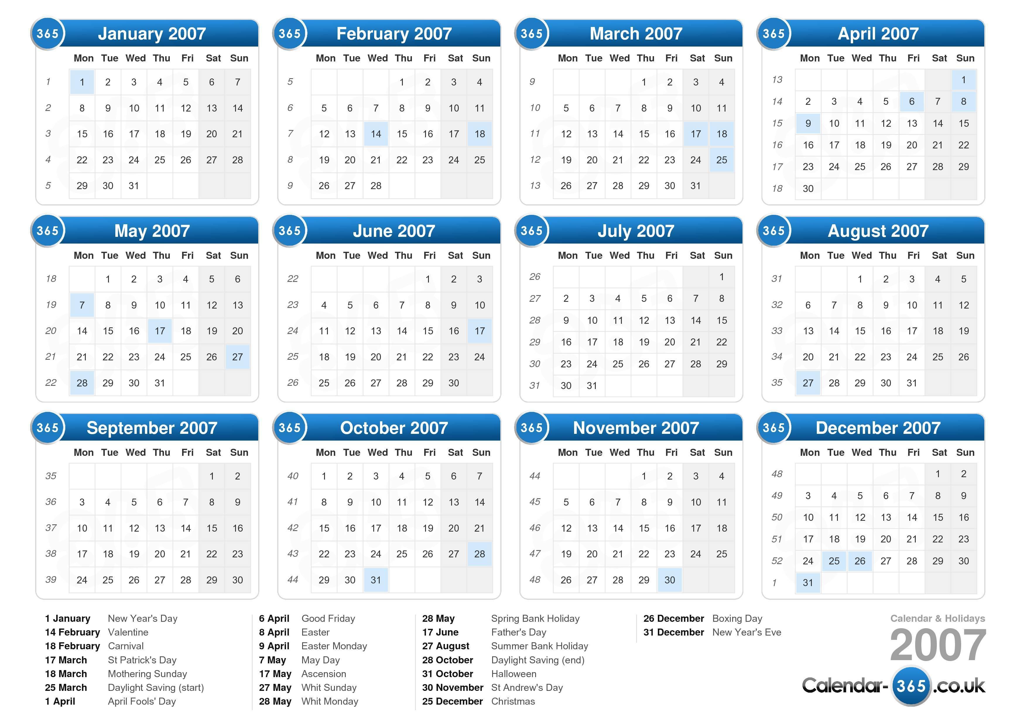Calendar 2007 in Printable 2007 Calendar