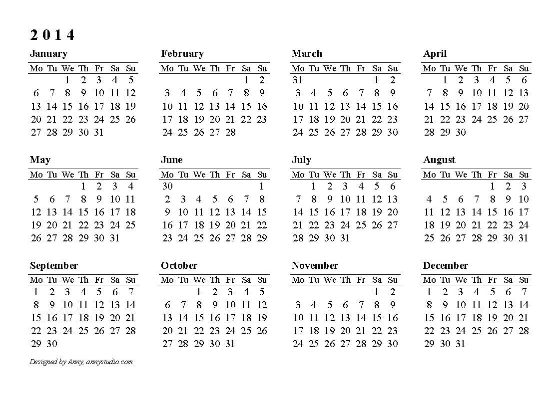 Calendar 2014 Only Printable Yearly |  2013 Printable intended for Calendar 2014 Printable