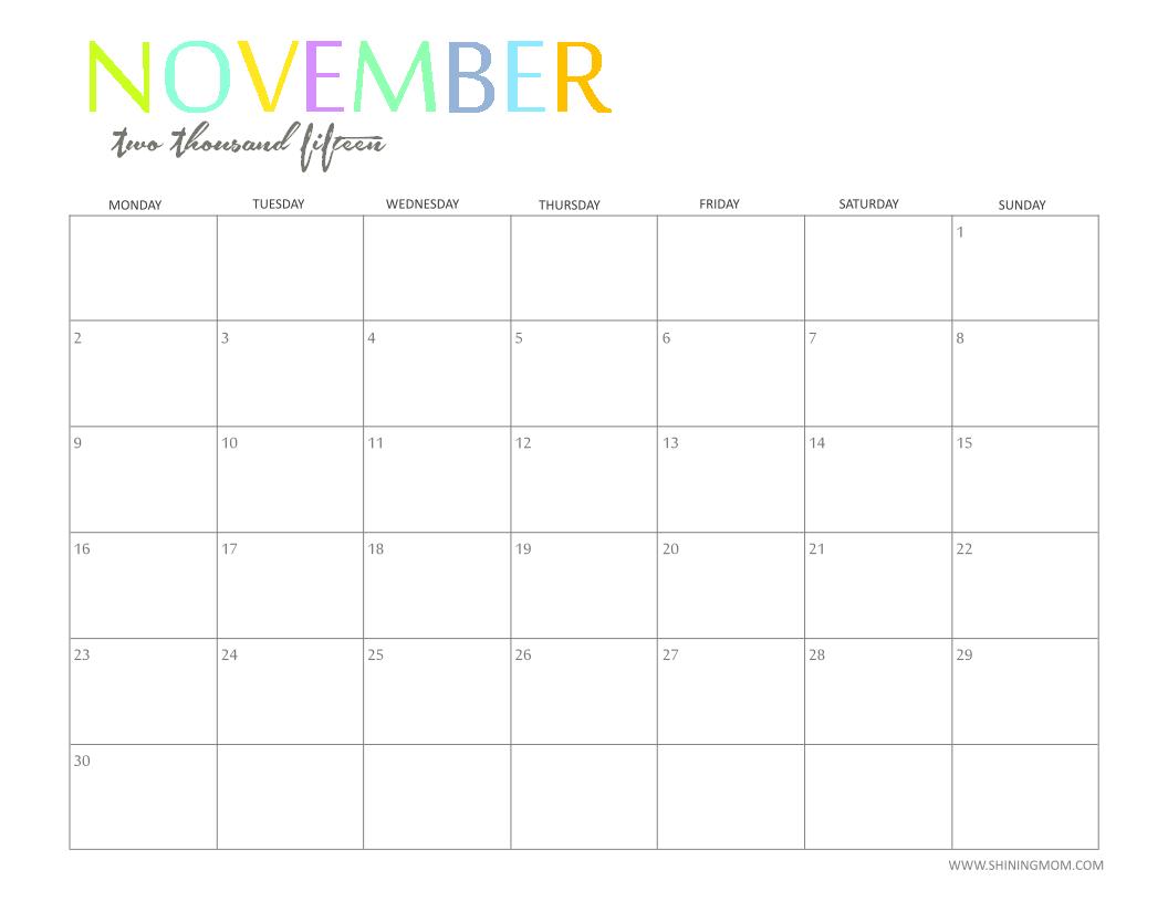 Calendar 2015 Monthly Planner  Topa.mastersathletics.co inside Printable Monthly Calendar 2015