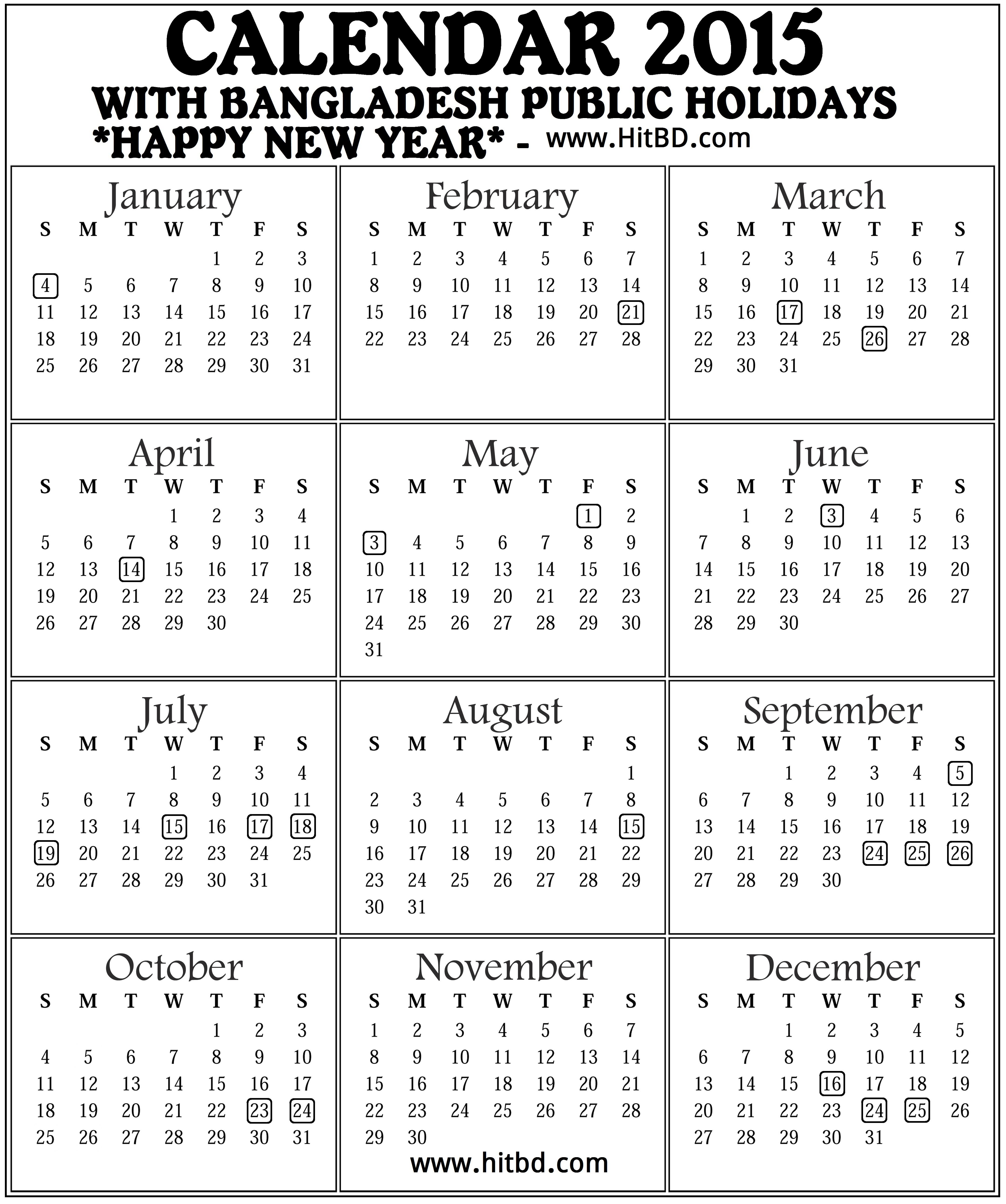 Calendar 2015: With Bangladesh Governmentpublic Holiday inside Bangla Calendar 2015