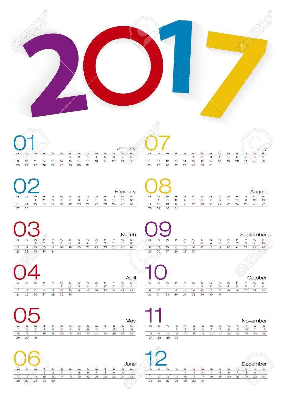 Calendar 2017, All Month, 2 Weeks Line. Vector Illustration. inside Two Weeks Calendar