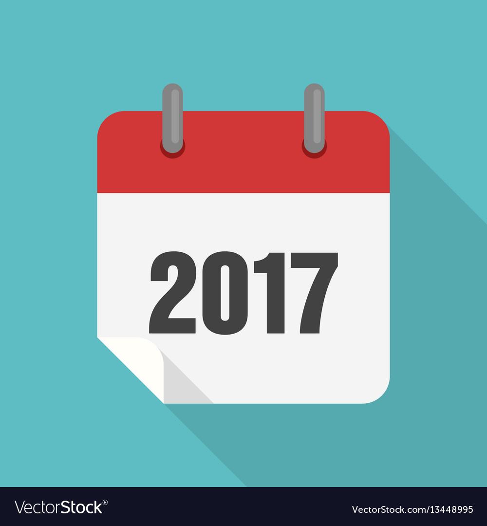 Calendar 2017 Icon Flat Design with Calendar Flat Design