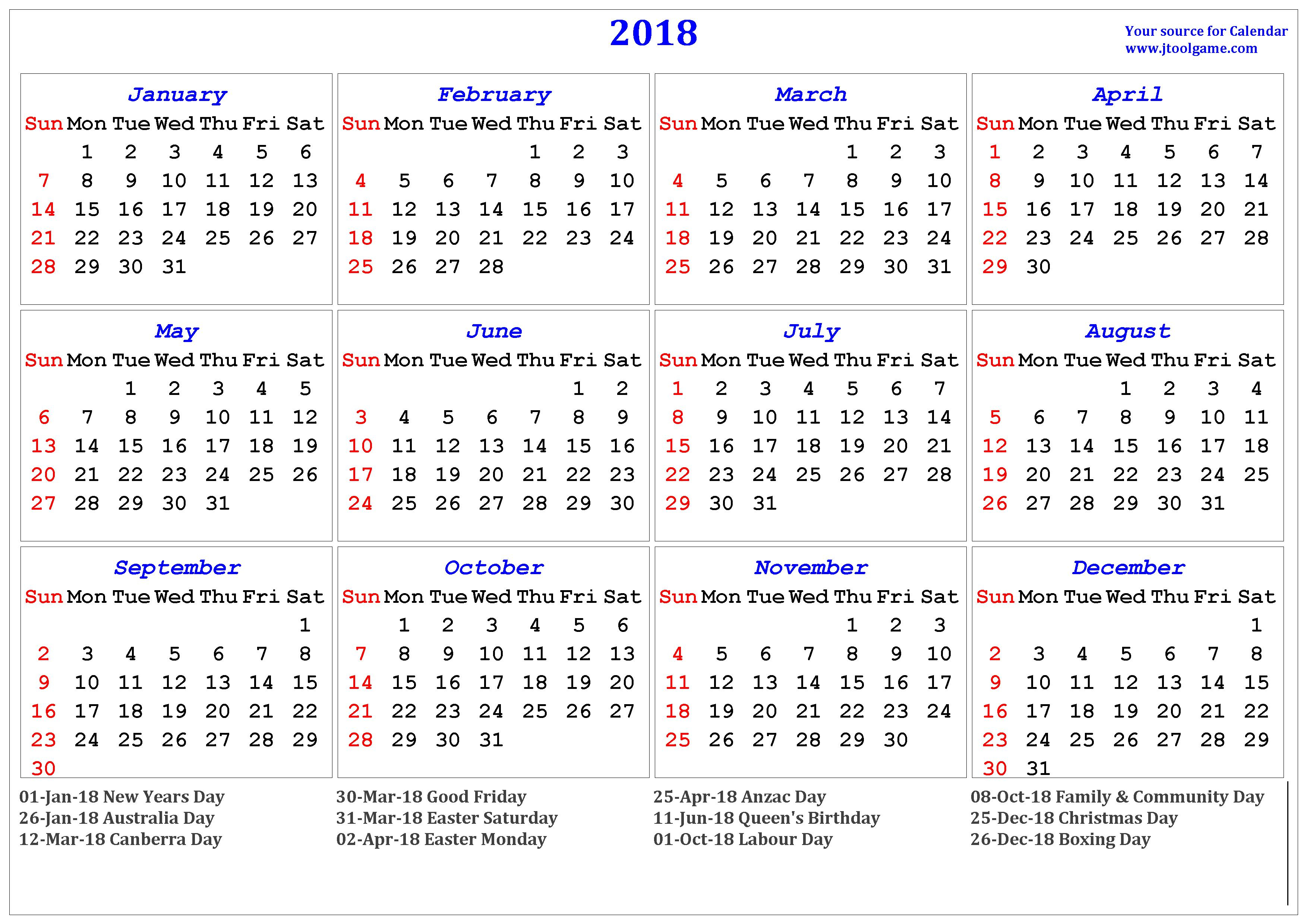 Calendar 2018 Australia | 2018 Calendar Printable For Free with regard to 2018 Calendar Australia Printable