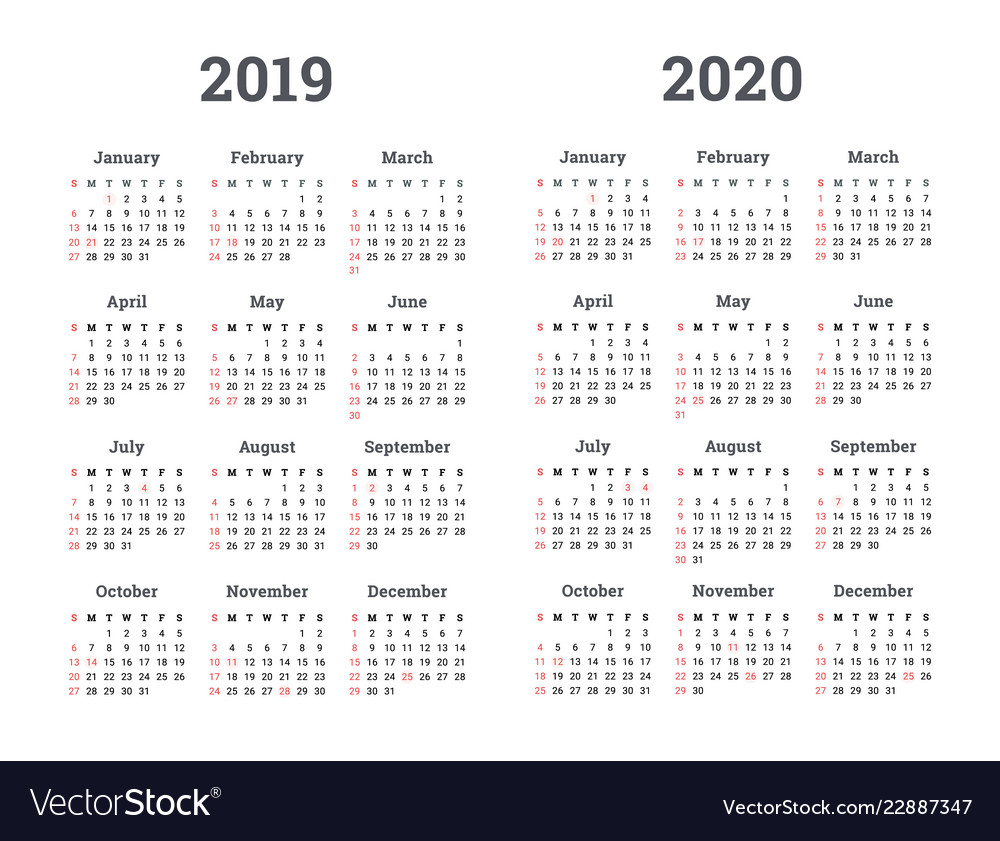 Calendar 2019 2020 Year pertaining to 2020 Calendar Vector Free