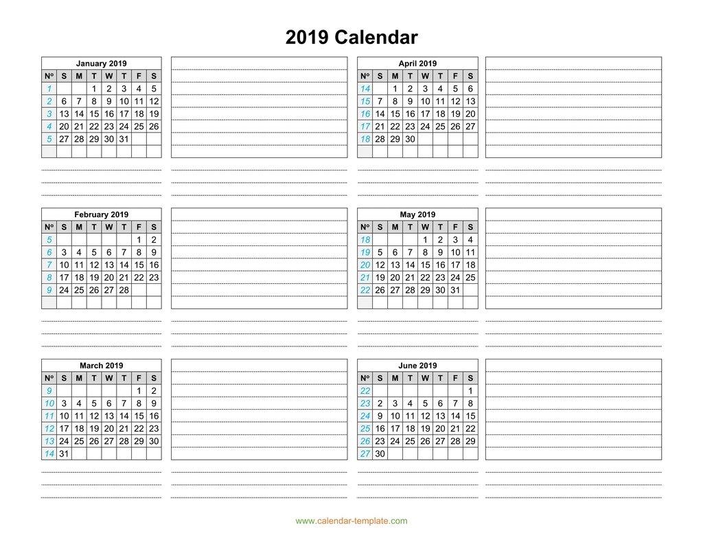 Calendar 2019 Template Six Months Per Page throughout Printable Calendar 2 Months Per Page