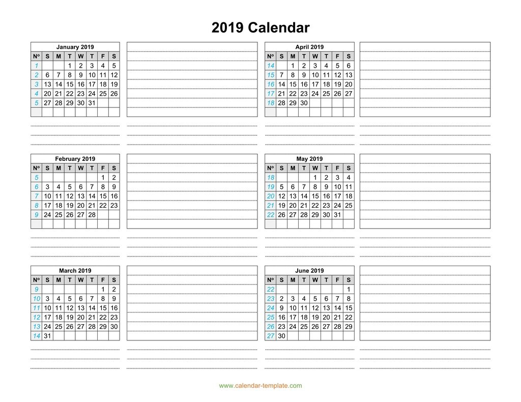 Calendar 2019 Template Six Months Per Page with Printable 6 Month Calendar