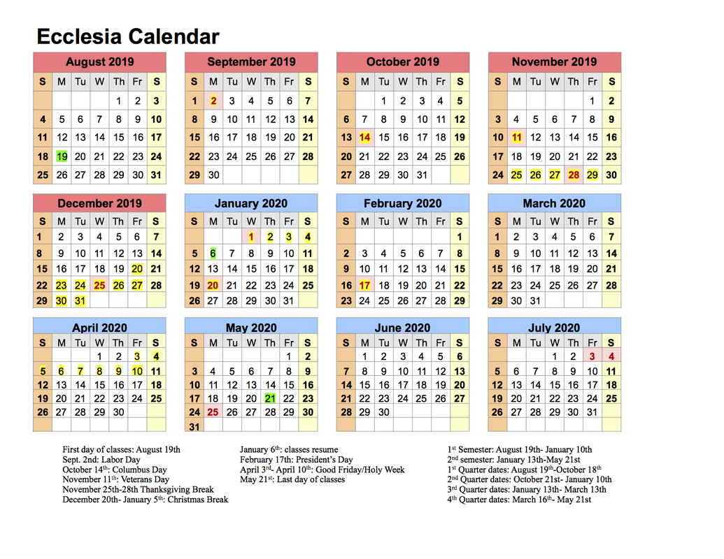 Calendar 201920  Ecclesia Classes for 1St 3Rd And 5Th Weekend Calendar 2020