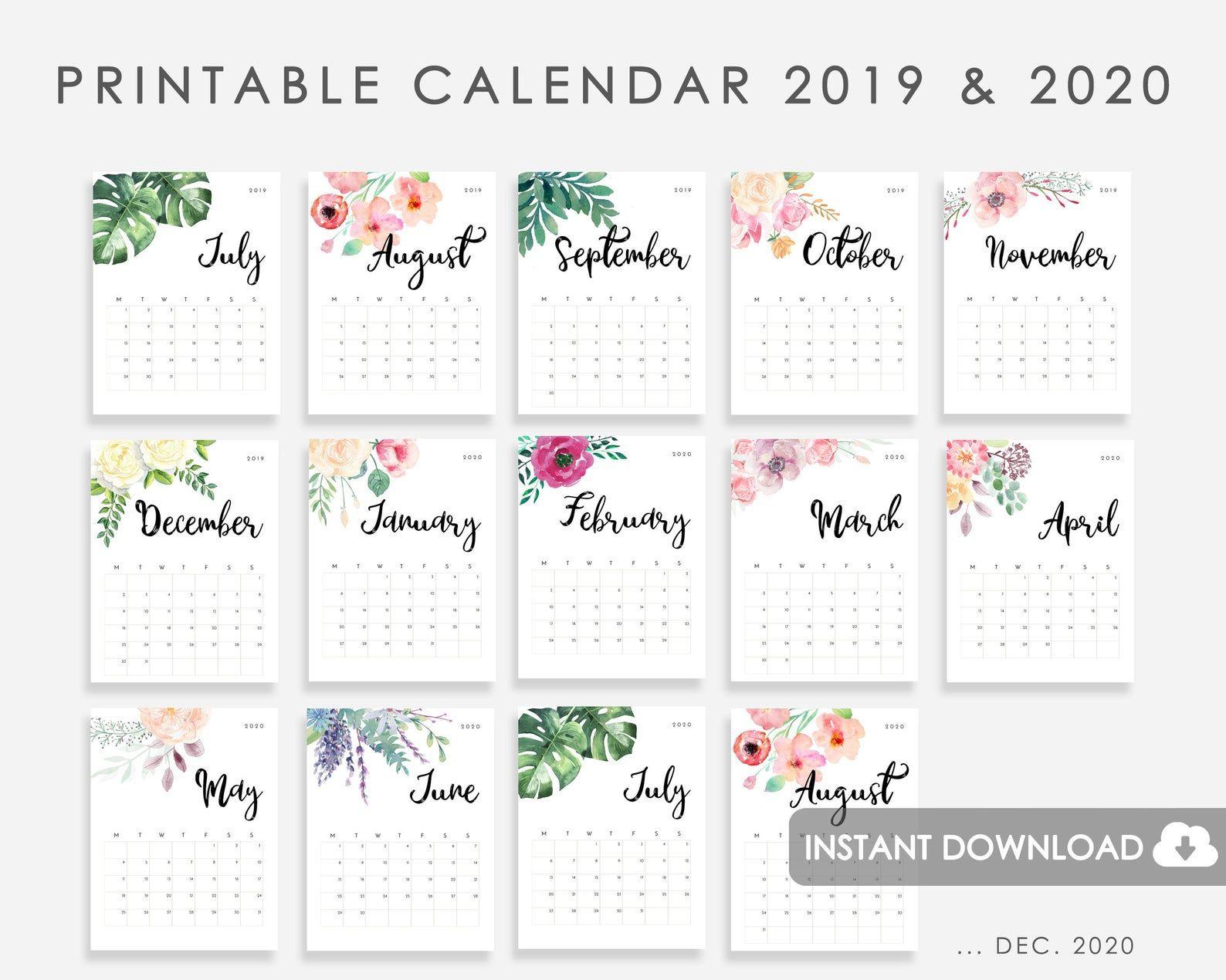 Calendar 20192020 Printable, Calendar Watercolor Flowers with regard to Printable Disney Calendar 2020