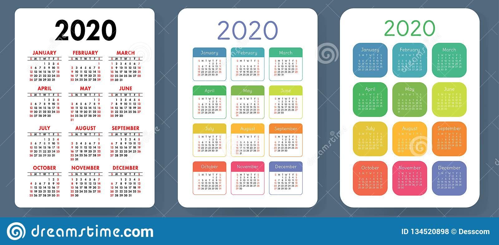 Calendar 2020. Colorful Vector Set. Pocket Calender with regard to Free Printable Pocket Calendar