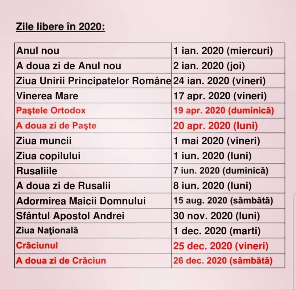 Calendar 2020 Cu Sarbatori Legale Romania  Zile Libere 2020 pertaining to Calendar 2020 Cu Zile Lucratoare