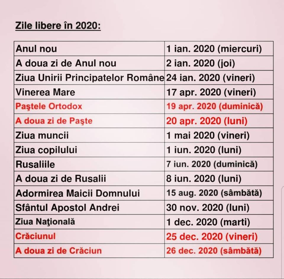 Calendar 2020 Cu Sarbatori Legale Romania  Zile Libere 2020 with Calendar 2020 Zile Lucratoare