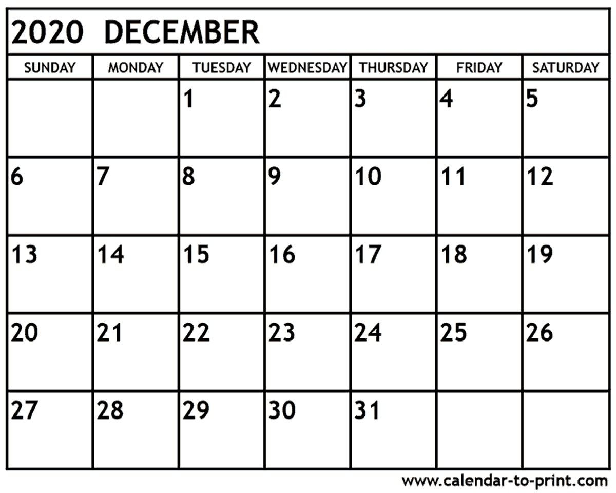 Calendar 2020 December Printable  Bolan.horizonconsulting.co inside Calendar 2020 December