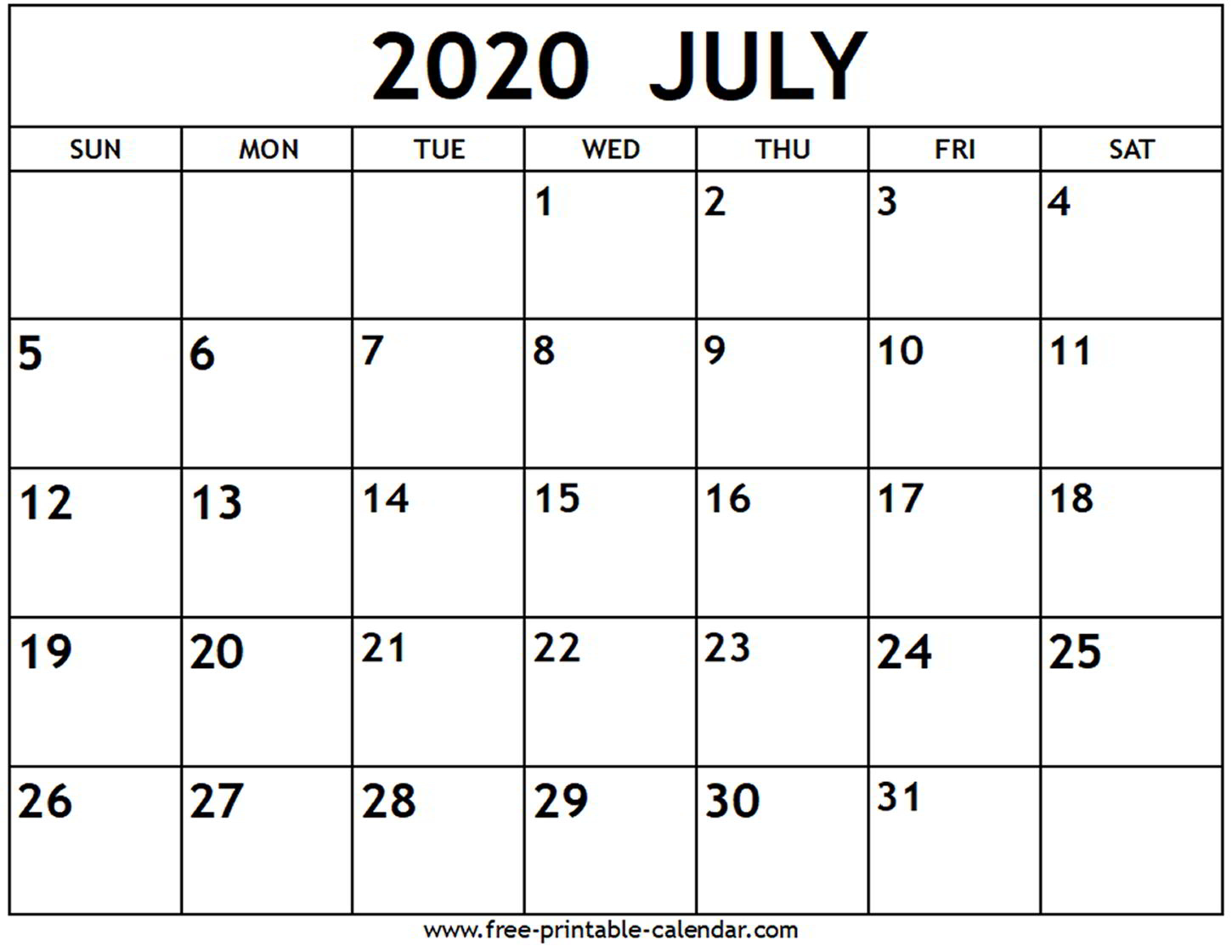 Calendar 2020 July  Bolan.horizonconsulting.co regarding Printable June 2020 Calendar