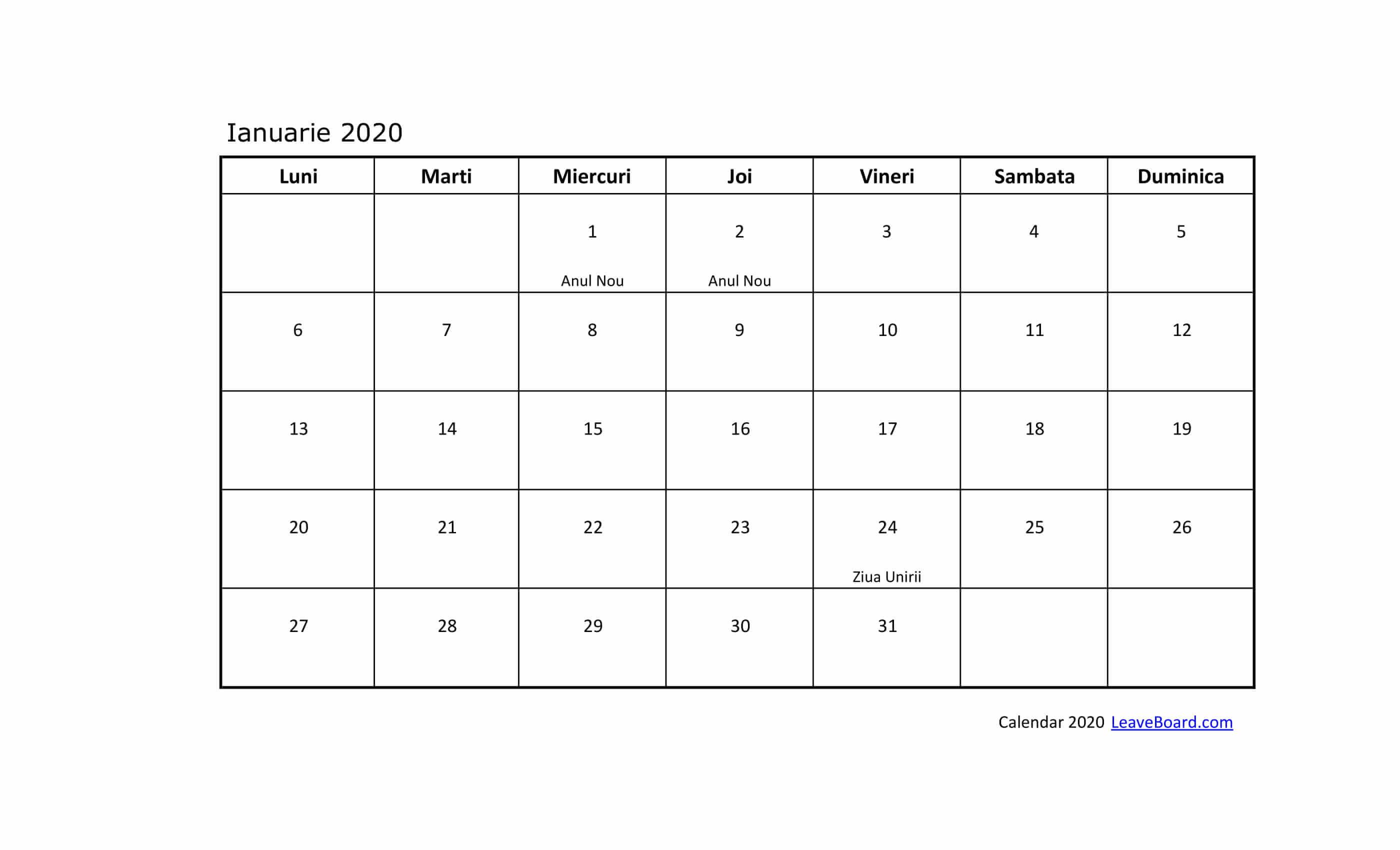Calendar 2020 | Leaveboard within Calendar 2020 Zile Lucratoare