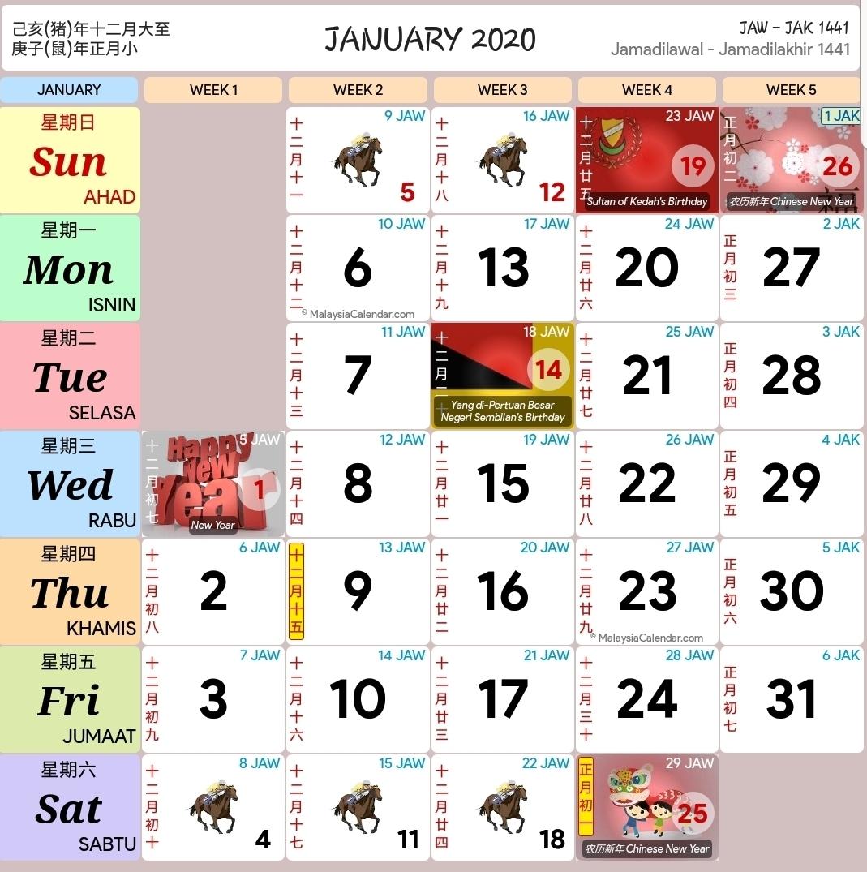 Calendar 2020 Malaysia Kuda | Calendar Printable Free throughout Calendar 2020 Kuda