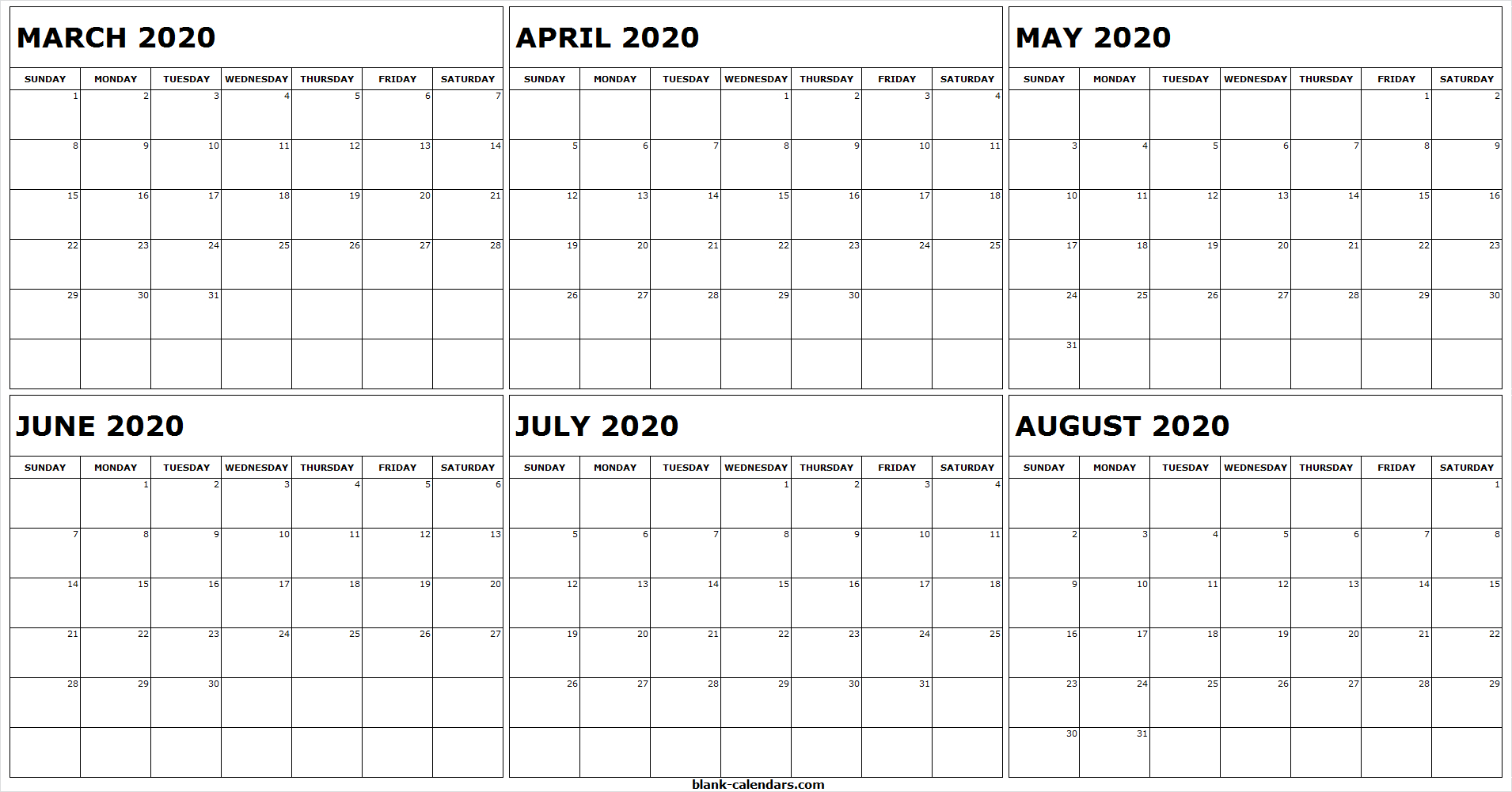 Calendar 2020 March April May June July August Month | Free within May June July August 2020 Calendar