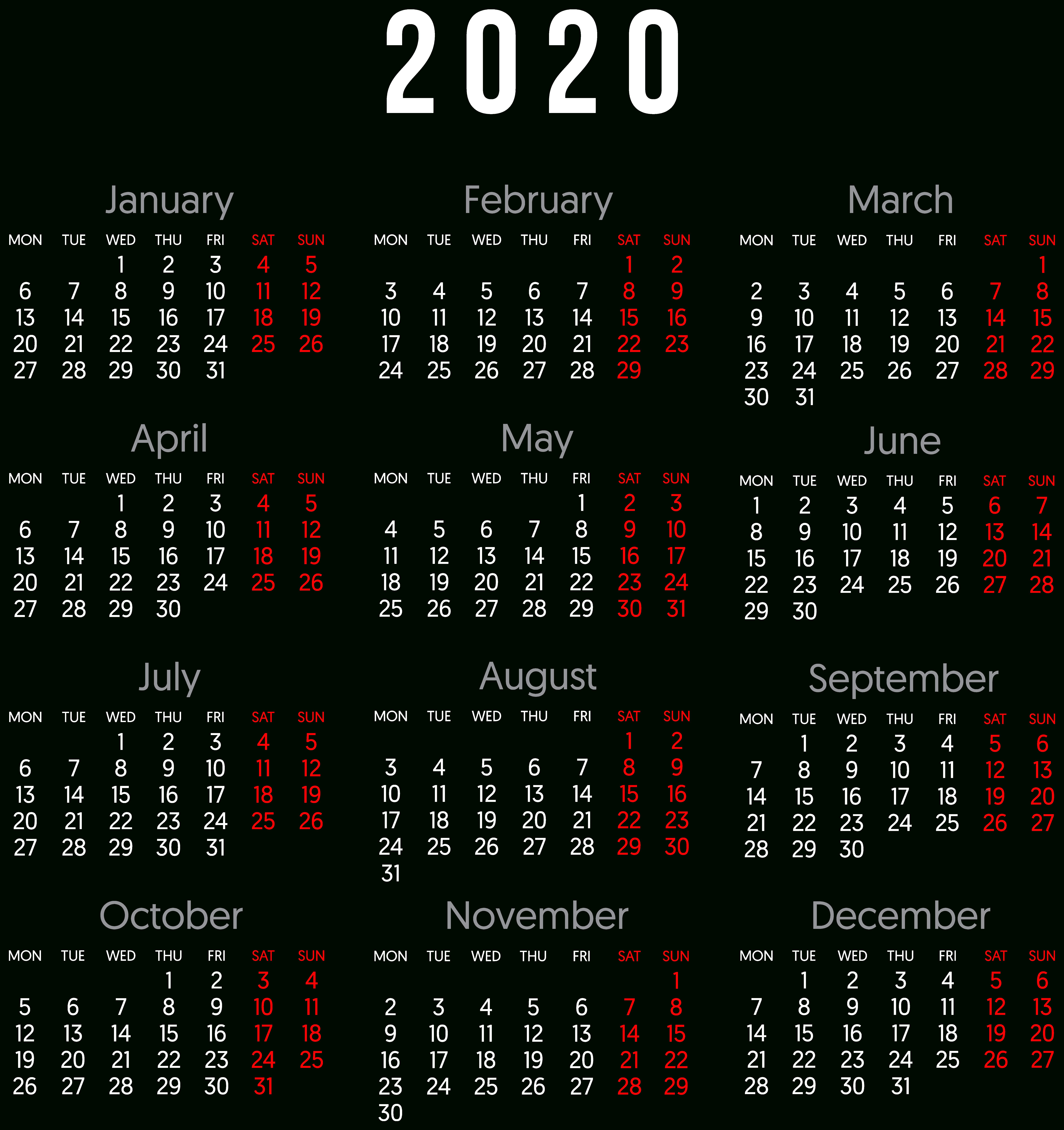 Calendar 2020 Png Images Transparent Free Download | Pngmart inside November Calendar 2020 Transparent