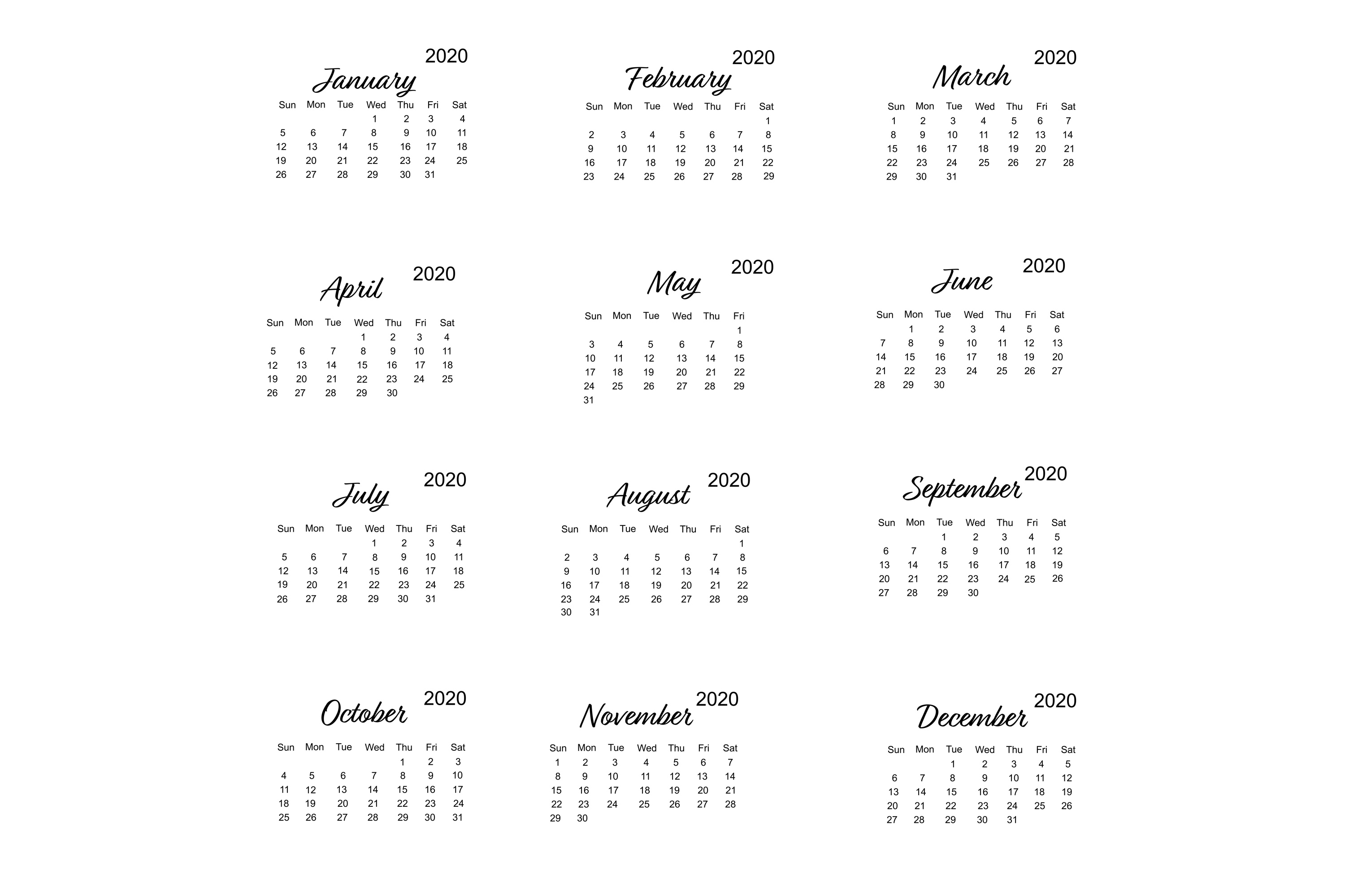 Calendar 2020 Vector With Minimalistic Design within 2020 Calendar Vector Free