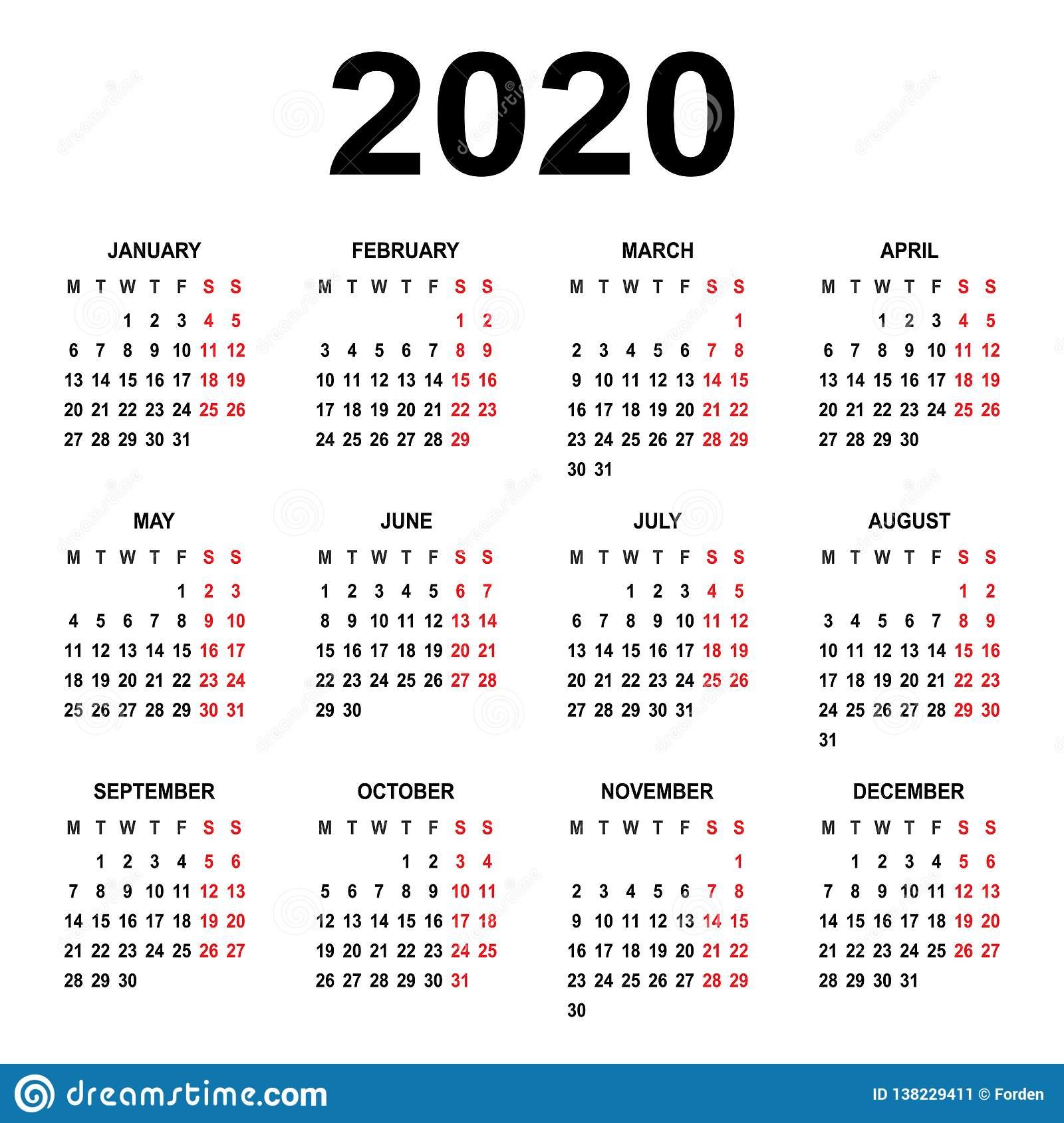 Calendar 2020. Week Starts On Monday. Basic Grid Stock for 2020 Calendar Template Monday Start
