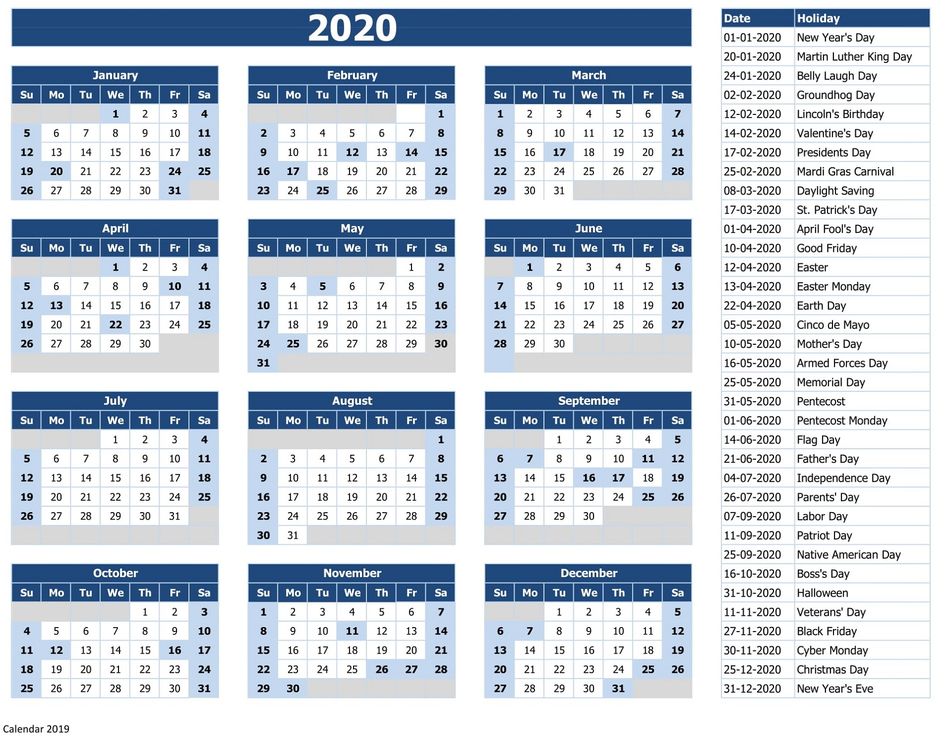 Calendar 2020 With Holidays Excel  Bolan.horizonconsulting.co intended for 2020 Calendar Hk Excel