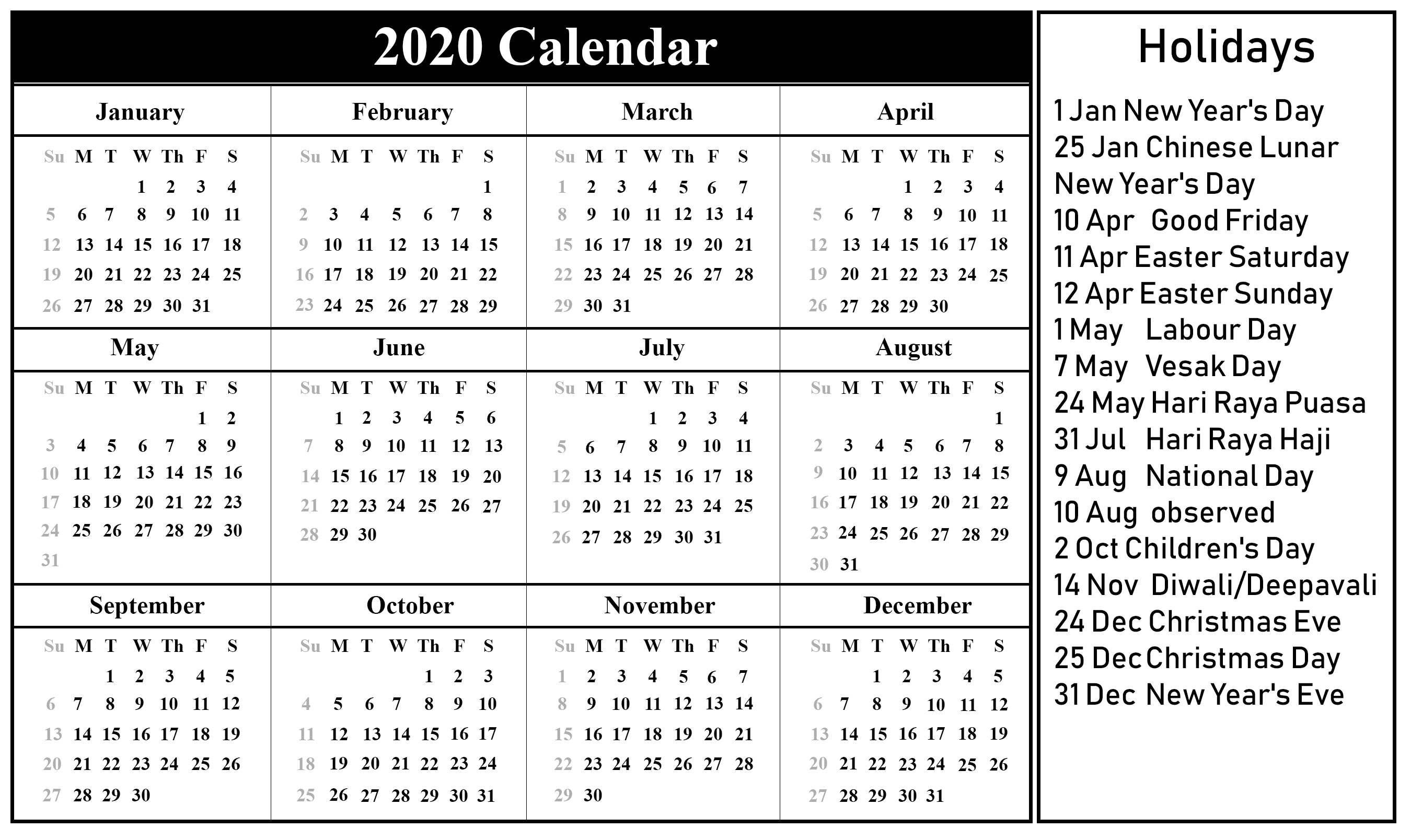 Calendar 2020 With Holidays Excel  Bolan.horizonconsulting.co pertaining to 2020 Calendar Hk Excel