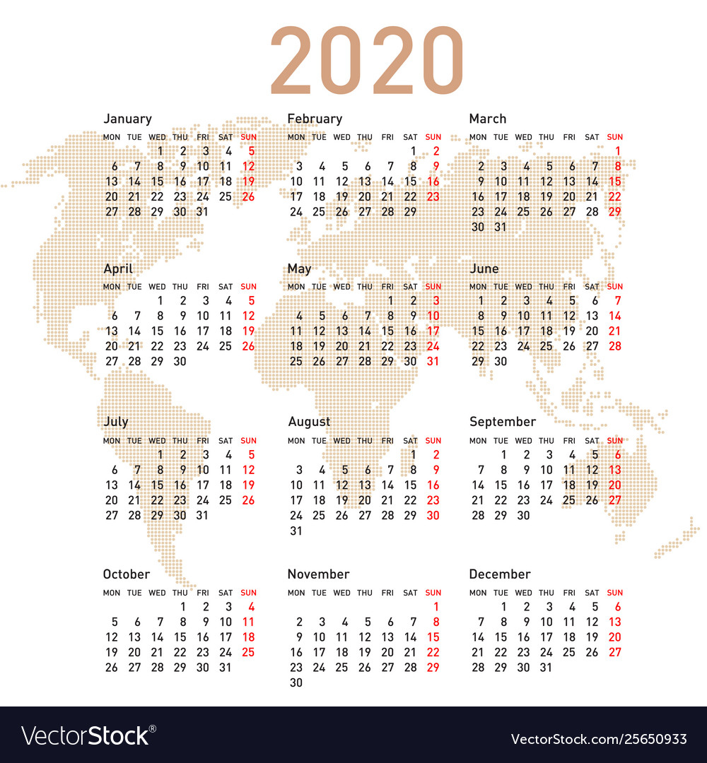 Calendar 2020 With World Map Week Starts On Monday in 2020 Calendar Mondays
