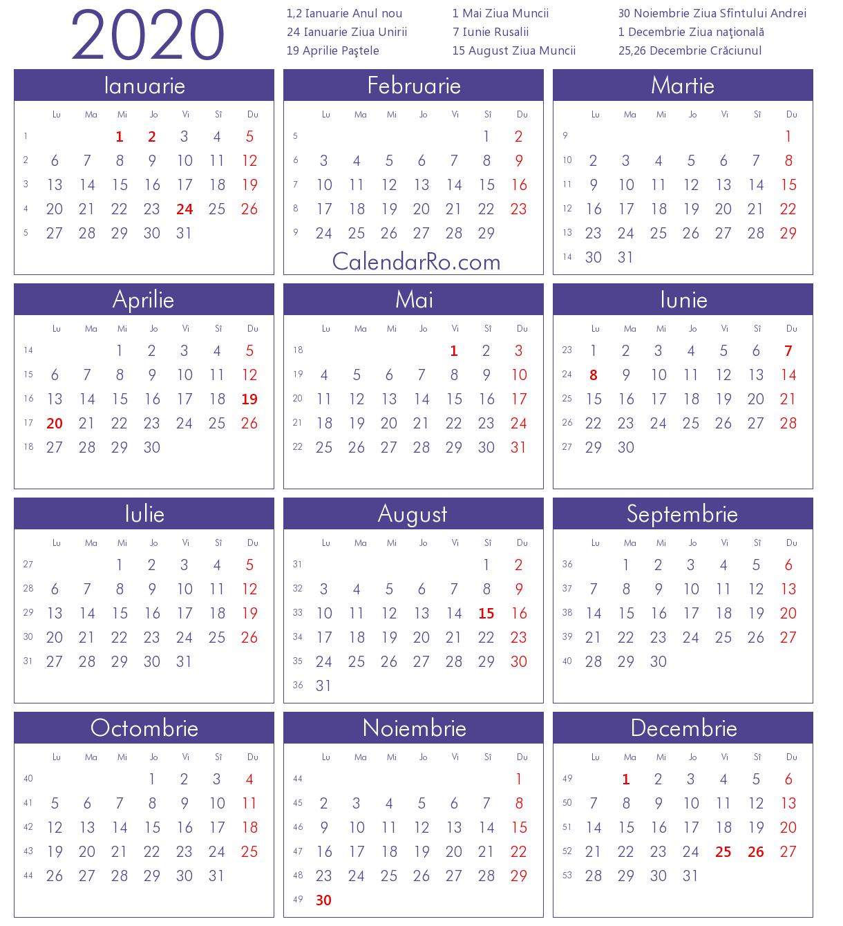 Calendar 2020 within Calendar Martie 2020