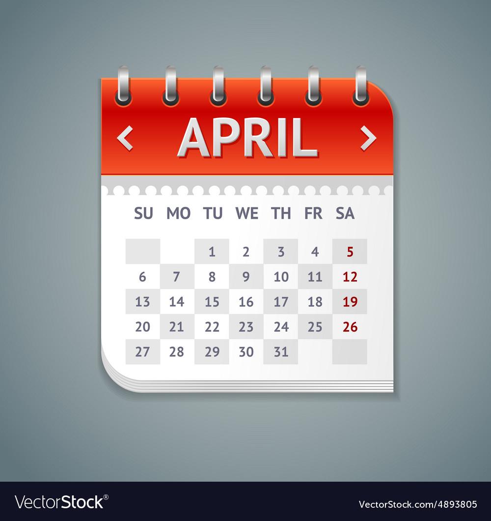 Calendar April Flat Design for Calendar Flat Design