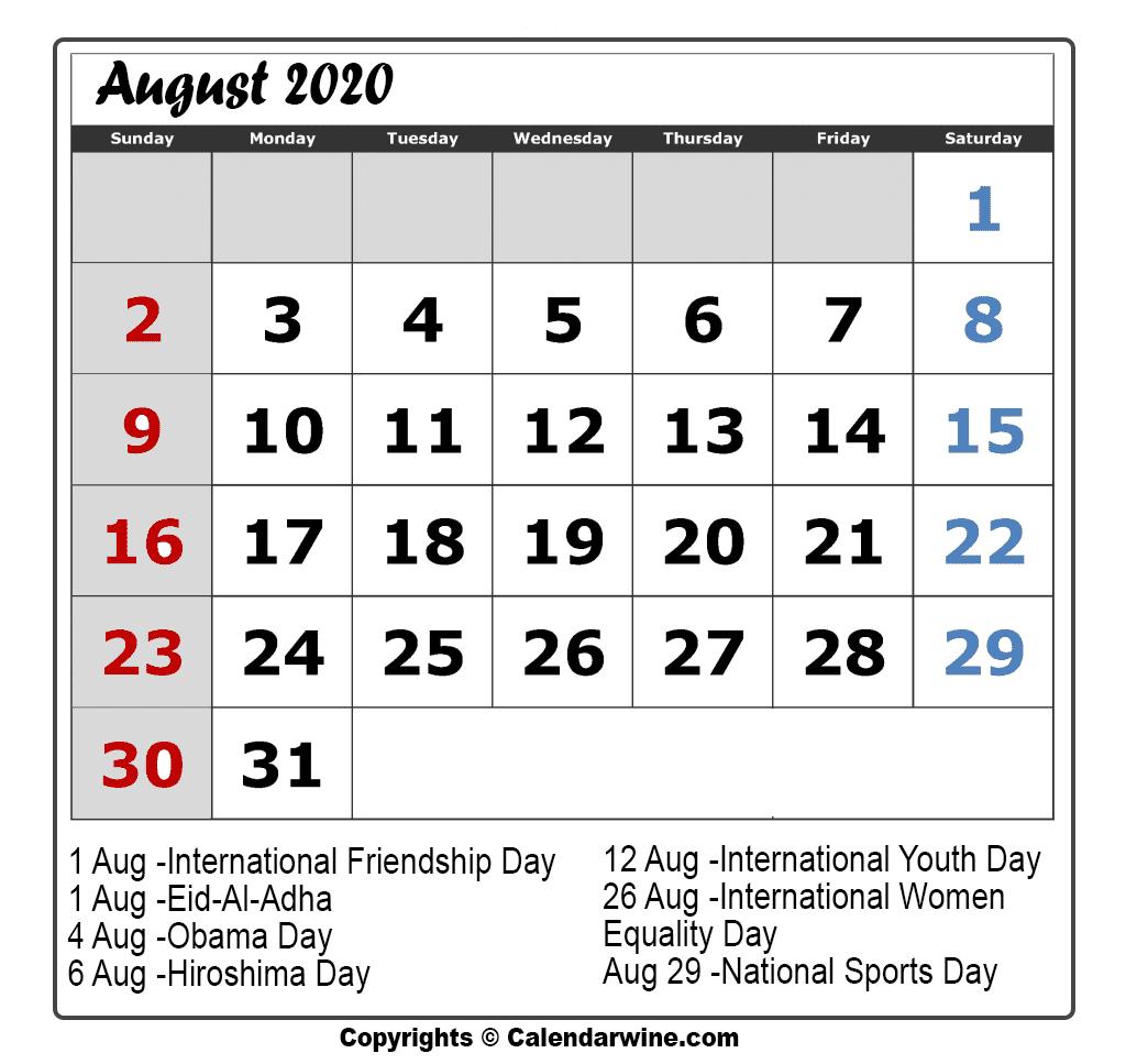Calendar Aug 2020  Yatay.horizonconsulting.co inside Kannada Calendar 2020 August