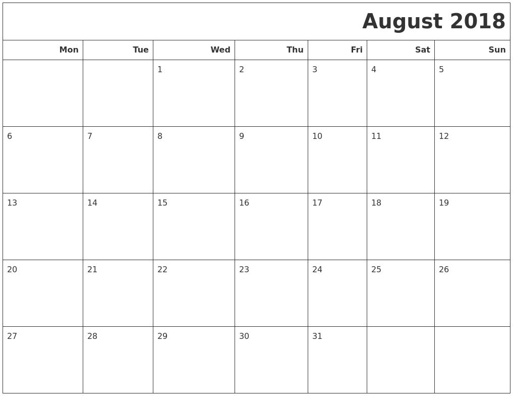 Calendar August 2018 Australia Printable  Free Printable regarding 2018 Calendar Australia Printable