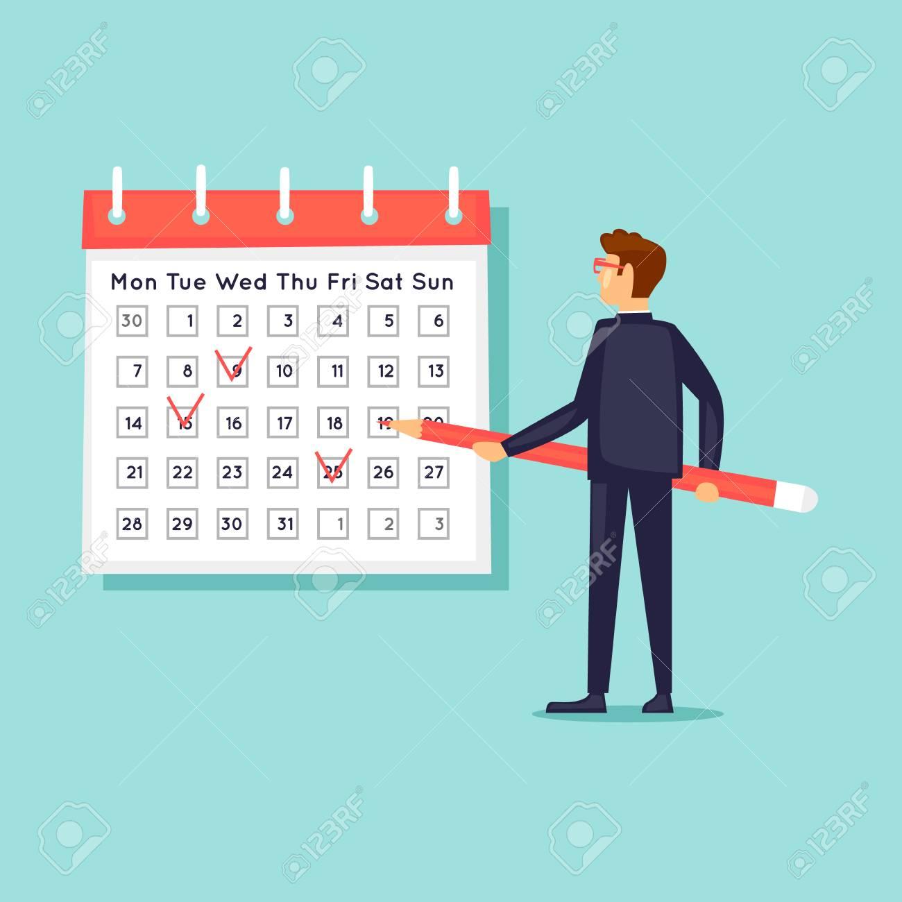 Calendar, Businessman Notes The Date. Flat Design Vector Illustration. inside Calendar Flat Design